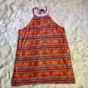 Free People orange striped halter tunic